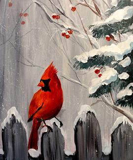 02 cardinal on fence