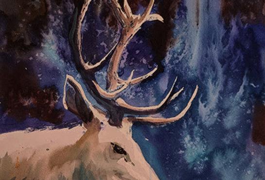 """Original Watercolor Demo """"Prancer"""""""