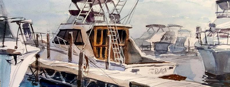 """Original Watercolor Demo """"Fishing Boat in Duluth"""""""