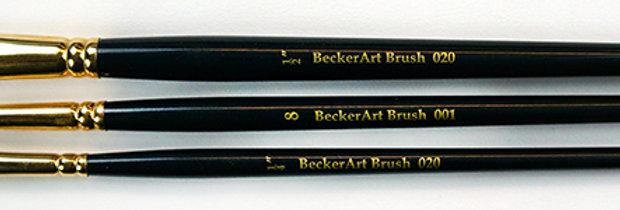 """BeckerArt 1/4"""",1/2"""" Flat, #8 Round Brushes"""