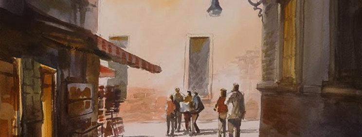 "Original Watercolor Demo ""Venice Street"""