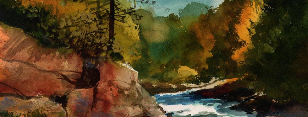 """Original Watercolor Demo """"Amity Heading Downstream"""""""