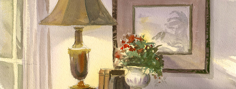 "Original Watercolor Demo ""Interior Still Life"""