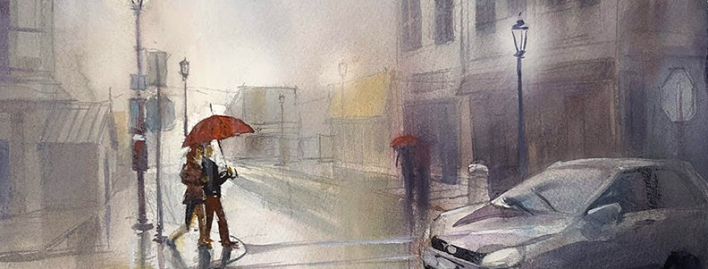 "Original Watercolor Demo ""Rainy Grand Marais"""