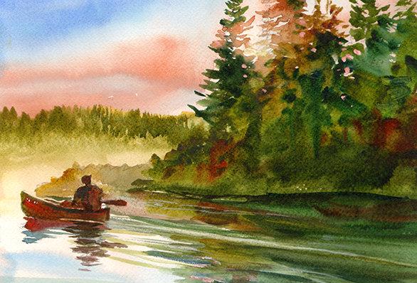 "Original Watercolor Demo ""North Woods Canoeing"""