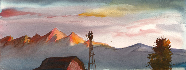 "Original Watercolor Demo ""Colorado Ranch"""