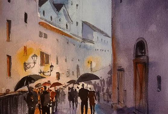"Original Watercolor Demo ""Raining in Salzburg"""