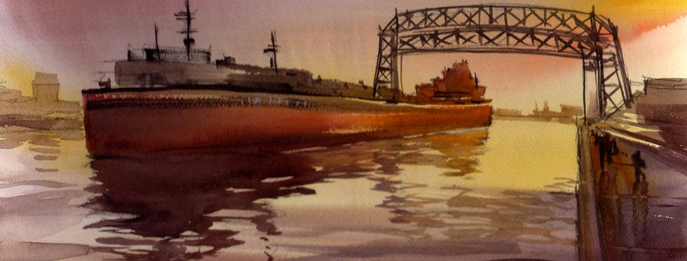 "Original Watercolor Demo ""Lift Bridge Ship Duluth"""