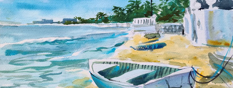 "Original Watercolor Demo ""Cozumel"""