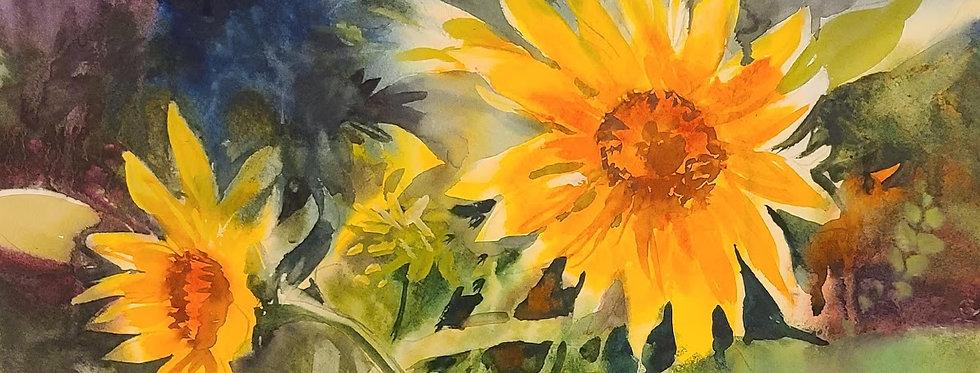 """Original Watercolor Demo """"Sunflower Pair"""""""