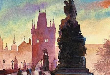 "Original Watercolor Demo ""Lady and Dog on Charles Bridge"""