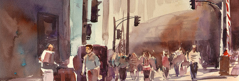 "Original Watercolor Demo ""Heading to Union Station"""