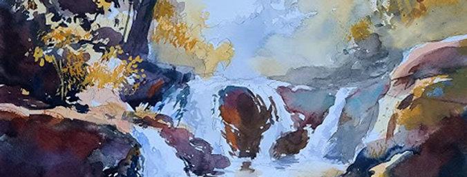 """Original Watercolor Demo """"Buddy Falls"""""""