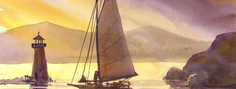 "Original Watercolor Demo ""Burlington Vermont Sailing"""