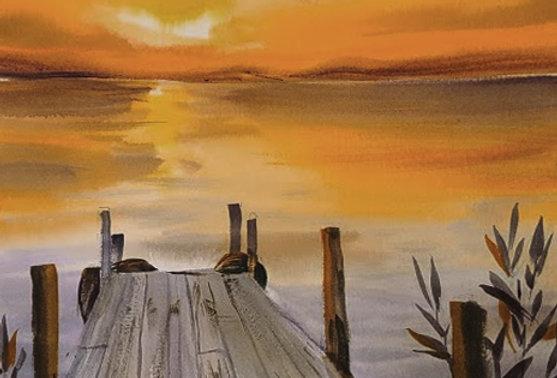"Original Watercolor Demo ""Sunset Pier"""