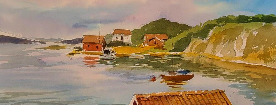 """Original Watercolor Demo """"Hometown Harbor"""""""