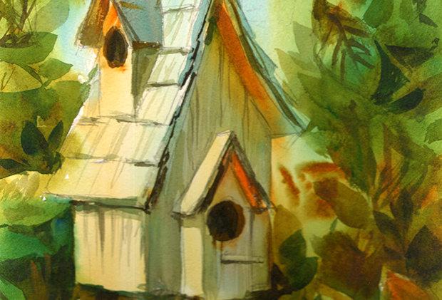 """Original Watercolor Demo """"Birdhouse"""""""