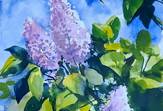 "Original Watercolor Demo ""Lilacs"""