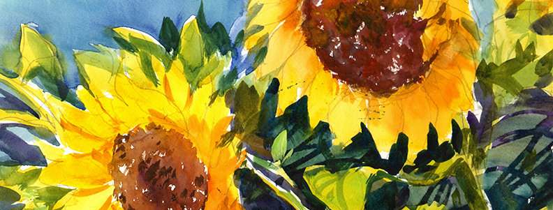 "Original Watercolor Demo ""Sunflowers #3"""