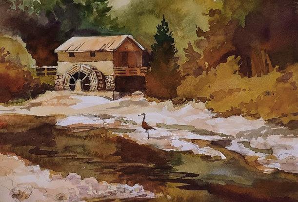 """Original Watercolor Demo """"Hiram Buttrick Sawmill, Antioch, IL"""""""