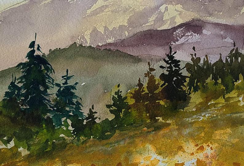 "Original Watercolor Demo ""Mountain Flowers"""