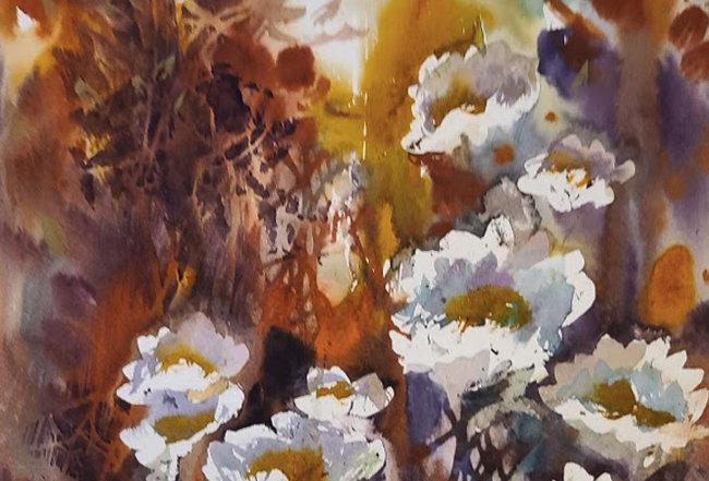 "Original Watercolor Demo ""White Flowers"""