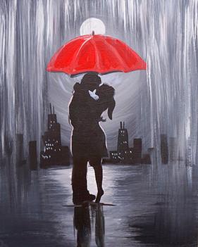 25 red umbrella under rain