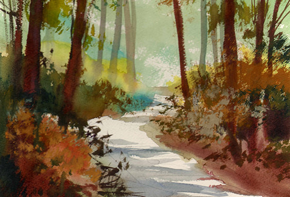 "Original Watercolor Demo ""Northern Walking Trail"""