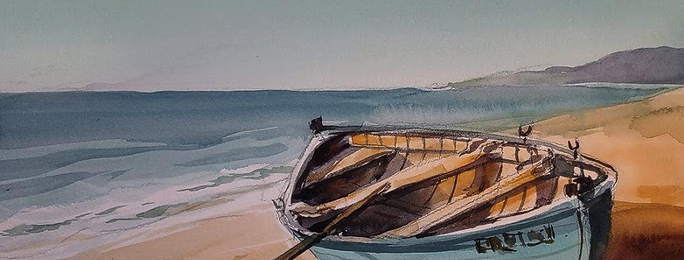 """Original Watercolor Demo """"Lone Boat"""""""