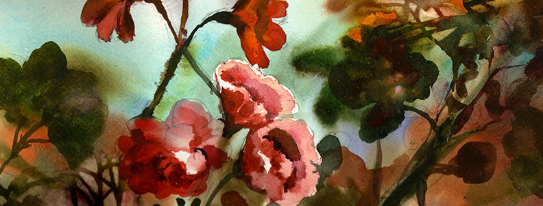 "Original Watercolor Demo ""April Flowers I"""