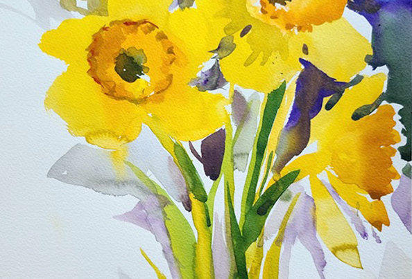 "Original Watercolor Demo ""Daffodils"""""