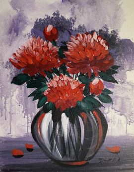 36 red flowers in a vase