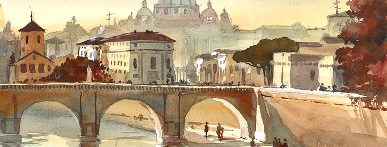 "Original Watercolor Demo ""Rome"""