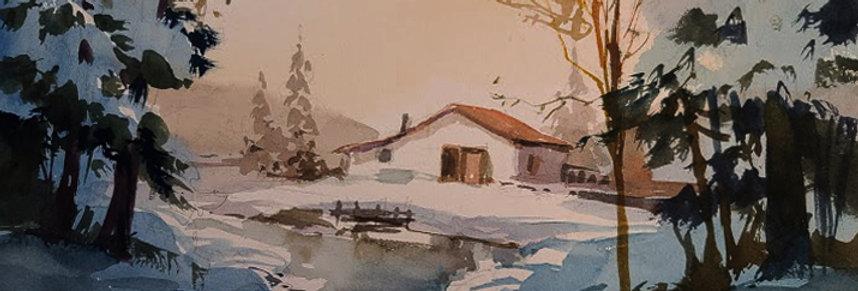 """Original Watercolor Demo """"Snowy River Home"""""""