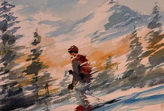 """Original Watercolor Demo """"Downhill Fun"""""""