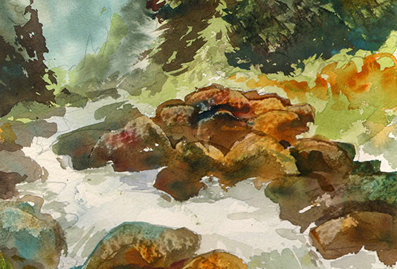 "Original Watercolor Demo ""Colorado Falls"""