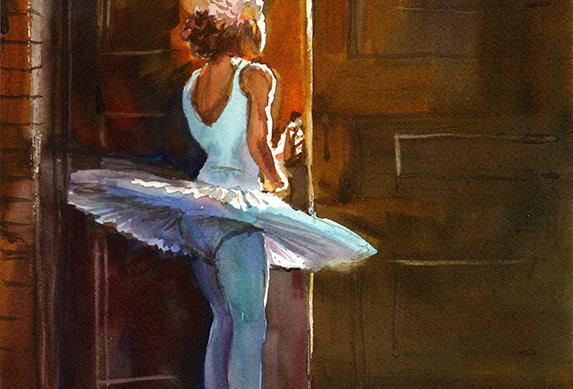 """Original Watercolor Demo """"Ballerina"""""""