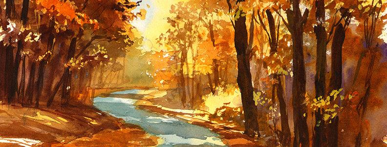 "Original Watercolor Demo ""Autumn's Coming"""