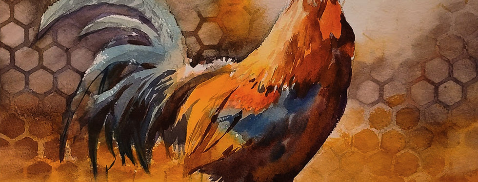 "Original Watercolor Demo ""Rooster"""