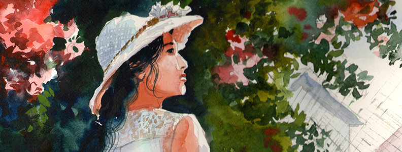 "Original Watercolor Demo ""Lady Blossoms"""