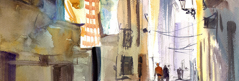 "Original Watercolor Demo ""French Street"""