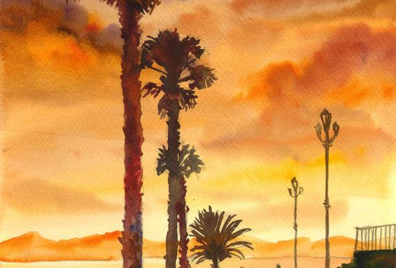 """Original Watercolor Demo """"Florida Sunset"""""""