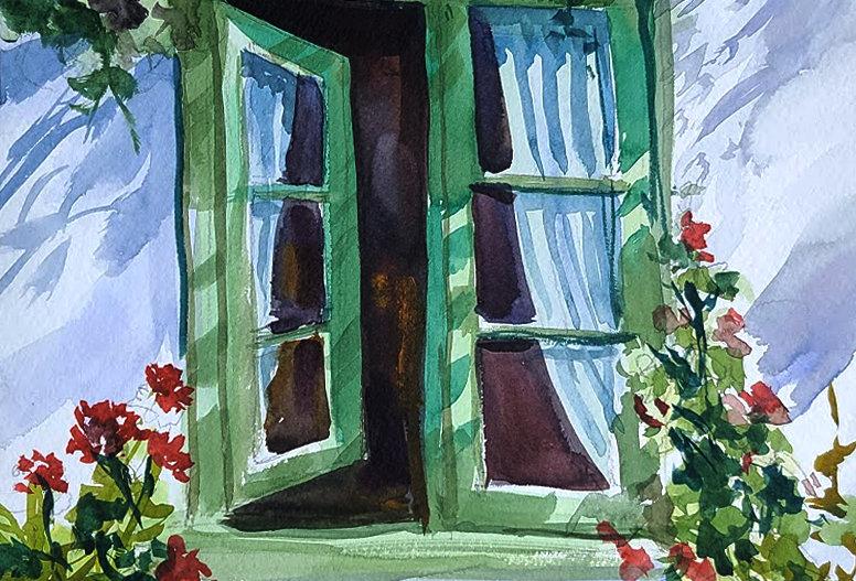 "Original Watercolor Demo ""Window Flowers"""