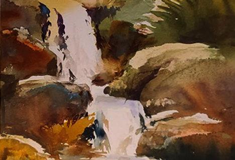 """Original Watercolor Demo """"Falling Water Northshore"""""""