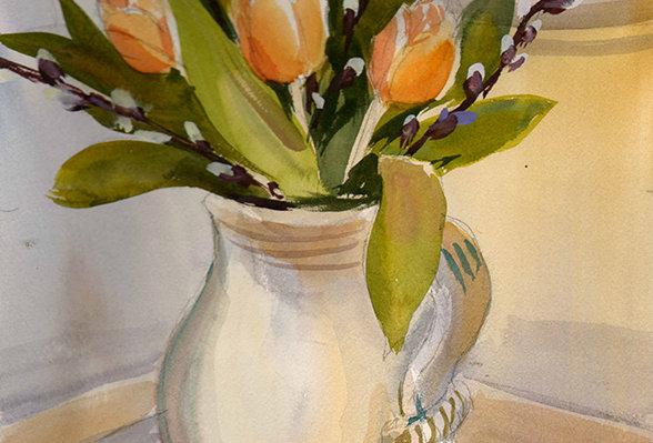 "Original Watercolor Demo ""Tulips"""