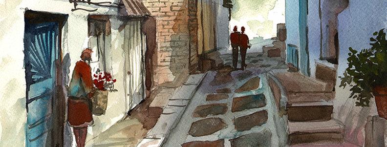 """Original Watercolor Demo """"MyKonos Greece"""""""