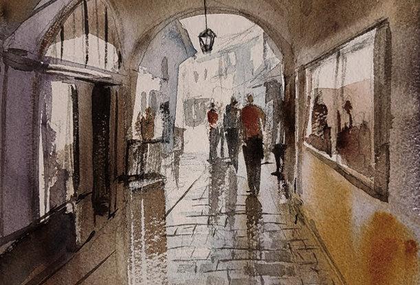"""Original Watercolor Demo """"Vienna Walkway"""""""