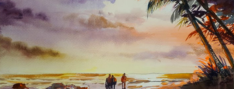 "Original Watercolor/Acrylic Demo ""Walk on the Beach"""