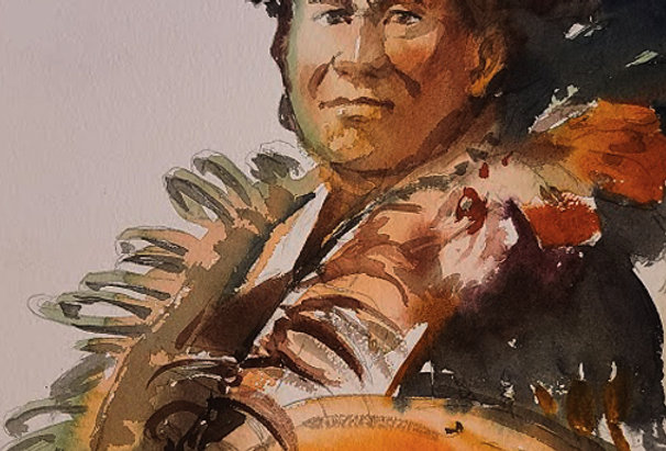 """Original Watercolor Demo """"Chief"""""""