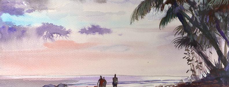 "Original Watercolor Demo ""Beach Stroll"""
